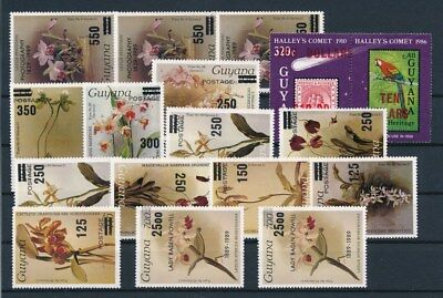 [G92236] Guyana Flowers/Parrot good lot Very Fine MNH stamps