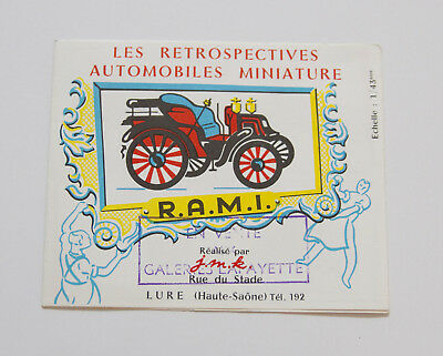 Catalogue Ancien - Les Retrospectives Automobiles Miniatures R.A.M.I. - 1970