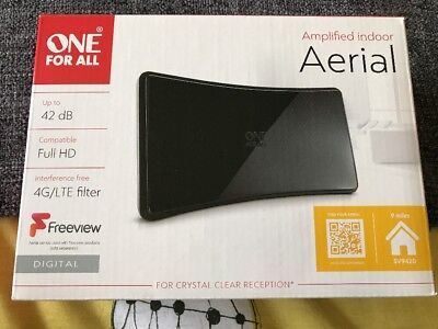 One For All Indoor TV Aerial 4G/LTE Filter Full HD Up to 42 DB