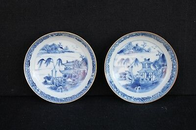 Two saucers with a decoration of house and tree 18th century Chinese export