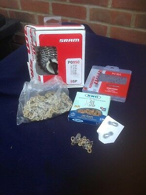 SRAM & KMC 9 Speed chains 2 KMC Gold 9 speed links and cassettes