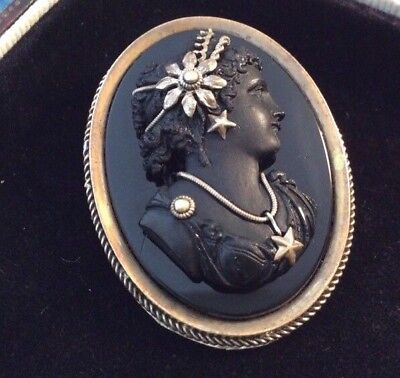 Antique Victorian Carved Black Lava Goddess Of Spring Cameo Brooch