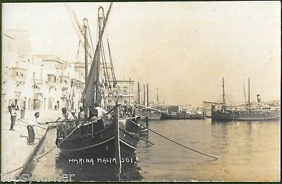 Malta Marina c1906. Scarce Real Photo of Maltese Sailing Craft and Busy Harbour.