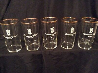 5 Vintage Canadian Club gold rimmed Whisky Glasses AA