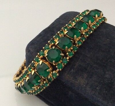 Vintage Jewellery Gorgeous Sparkling Emerald Green Faceted Crystal Bracelet
