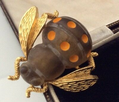 Vintage Jewellery Fabulous Lucite And Enamel Bumble Bee Brooch