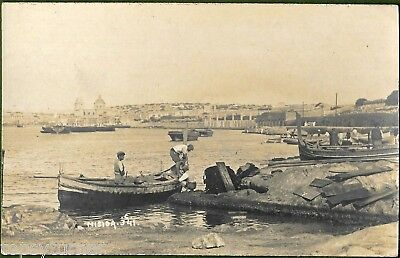 Misida Waterfront, Malta c1906. Scarce RP of Small Craft and Maltese Boatmen.