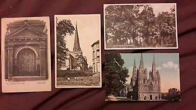 4 x Old postcards of Staffordshire - Uttoxeter Church + Dr Johnson Bas-relief, M
