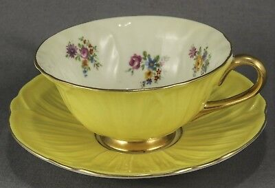 "Shelley Footed Oleander Yellow ""dresden"" Cup & Saucer Excellent #13438/s16"