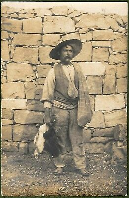 Maltese Man With Chicken, Misida c1906. Excellent Real Photo Study.
