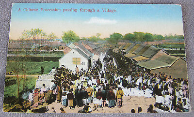 antique postcard China 1925 road chinese procession through a village