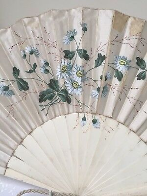 Collectible Antique Hand Painted Bovine Silk Fan
