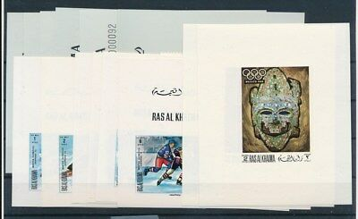 [G94089] Ras Al Khaima Olympics 3 good imperforated sets Very Fine MNH stamps