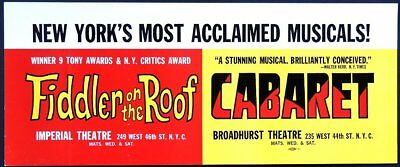 TRITON offers 1966 original taxi Broadway poster FIDDLER ON THE ROOF  &  CABARET