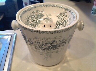 Rare Unique Antique 1800's Green Transferware Chamber Pot & Lid