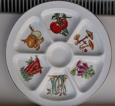 Retro Hors D oevres Dish by Crown Devon Vegetable Pattern