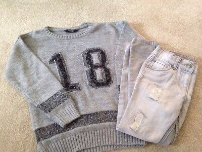 George Girls Jumper And Skinny Jeans With Sparkle Detail Size 4-5 Years Grey