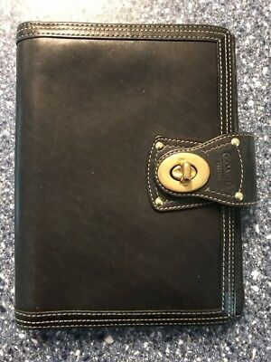 Coach Day Planner Black With Pen Holder