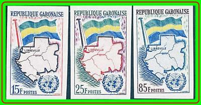 GABON 1961 UNO ADMISSION SC#151-53 MNH imperforated   CV$14.00 MAPS, FLAGS