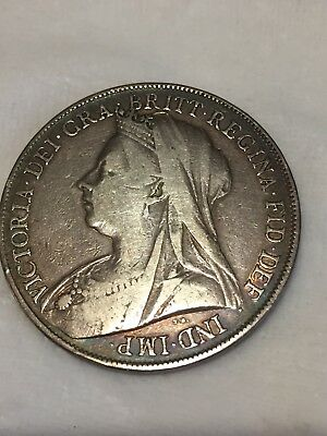 "1899-LXII Queen Victoria British Silver ""Widow Head"" Crown"