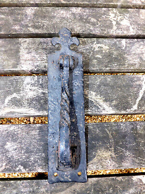 Vintage Blacksmith Made Wrought Iron Door Knocker With Fleur-di-Lis Top