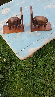 Lovely Pair Of Mahogany Elephant Book Ends