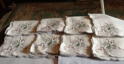Set 12 Vintage Linen Table Napkins  16 inches Square Cream With Embroidery