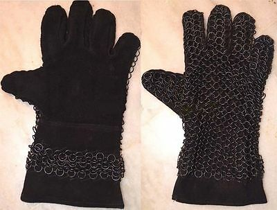 Chainmail Leather Gauntlet Butted Black Leather Chain Mail Glove W1