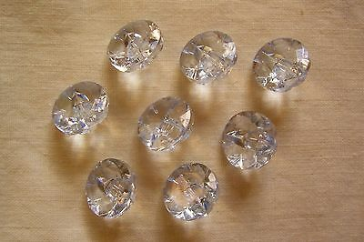 8 new clear pale blue multi-faceted 'glass look' buttons 15 mm. diameter