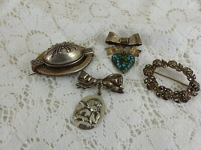 Job Lot Antique Vintage Silver Plated & Sterling Silver Brooches Cupid Hearts