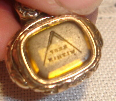 "Masonic Swivel Seal Fob , Compasses & ""keep Within"" - Gold Plated"