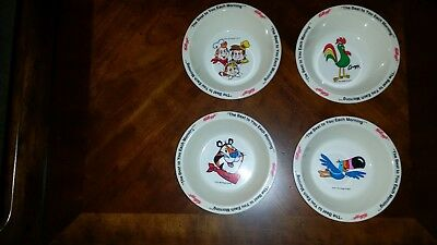 Set of 4 Vintage 1995 Kelloggs Cereal Bowls Tony Toucan Snap Crackle Pop Rooster