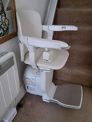 Stannah 600 Siena stairlift. Current model with powered seat rotation