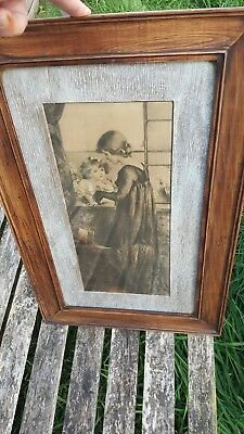 antique oak picture frame with lime wash insert