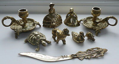 9 Brass Collectables - Candlesticks, Crinoline Lady Bells, Animals, Paper Knife