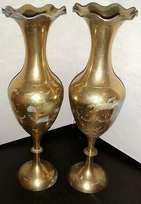 Pair of Vintage Small Brass Vases