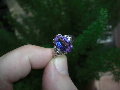 Vintage 6.50ct Color Change Sapphire 10k White Gold Ring Oval Cut Blue to Violet