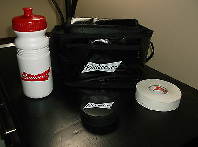 Budweiser Insulated Bag With Hockey Puck, Hockey Tape, And Plastic Water Bottle