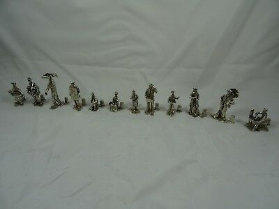 SUPERB set x 12 solid silver `VICTORIAN FIGURINE ` MENU HOLDERS, 1971, 530gm