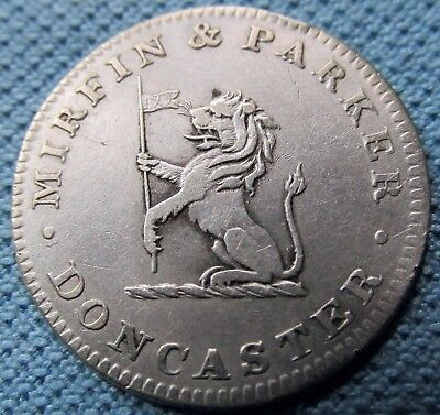 1812 English Six Pence Silver Token Mirfin & Parker Doncaster Drapers Lion (MJN)