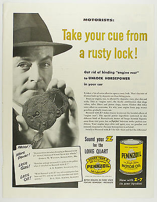 Vintage 1950's PENNZOIL MOTOR OIL - Large Full-Page Magazine Ad - Automobile