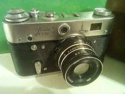 FED-3 OLYMPIC  vintage soviet Leica copy camera with lens Industar-61 working