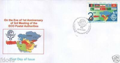 Pakistan Fdc 2007 ECO Postal Authorities Withdrawn Stamp Flags Afghanistan Etc