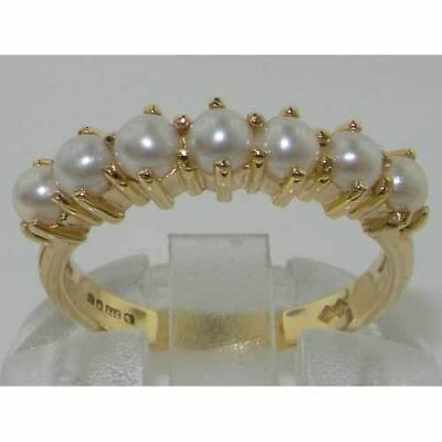 14K Yellow Gold Ladies Pearl Anniversary Eternity Ring