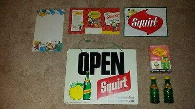 VINTAGE SQUIRT ADVERTISING SODA Open/Close sign, Salt pepper, patch, misc.