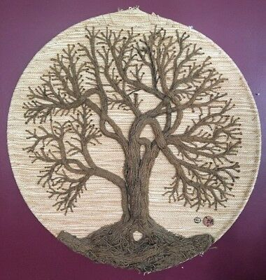 Mid Century Modern Don Freedman Woven Tree Of Life Wall Hanging Art