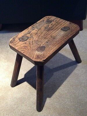 Vintage True Antique 4 Legged Wood Milking Stool with Oblong Seat