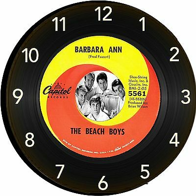 Beach Boys   Barbara Ann   Wall Clock Retro Image Of Vinyl 45 RPM Record New 10""