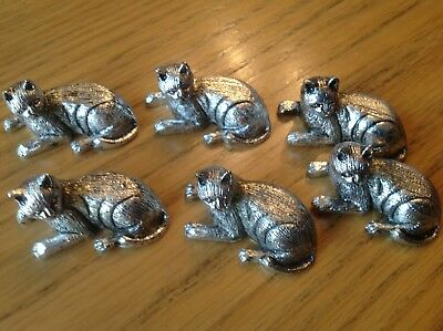 Set of 6 Silver Coloured  Knife Rests Cats