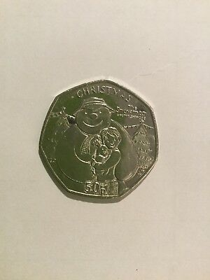 Isle Of Man Christmas 50P The snowman and the snow dog.BNUC